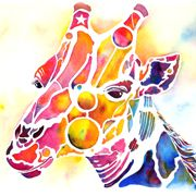 Giraffe Art Painted by watercolor artist, ©Jo Lynch, watercolor, painted size 11 x 14. Vivid warm colors depict this stand tall zoo & wildlife animal. Bright BOLD shapes make this a dynamic and cheerful painting for people of all ages.  Enjoy ! All of my artworks are registered with the US Copyright office.