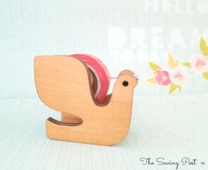 Wood+Tape+Dispenser+Bird+by+TheSewingPost+on+Etsy,+$15.75