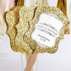 Personalized Gold Glitter Hand Fans