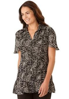 Blouse in crinkle georgette by Only Necessities® | Plus Size short sleeve | Woman Within