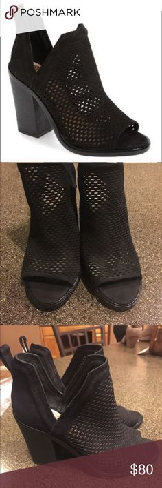 Vince Camuto Kensa Peep Toe Booties Black Size 7 Vince Camuto Kensa Peep Toe Booties Black Size 7. Like new! So versatile and cute! If you like the Vince Camuto Katleen you will love these! I feel like they run a little on the larger side.  Vince Camuto Shoes Ankle Boots & Booties