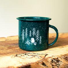 Forrest and waves enamel mugs