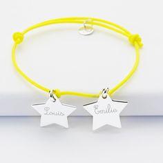 Bracelet personnalisé prénoms 2 médailles gravées argent étoile 20x20 mm - prénoms 1