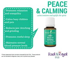 Young Living's Peace & Calming Essential Oil Promotes relaxation & tranquility, calms busy children & pets, reduces jaw clenching & grinding, promotes restful sleep, maintains normal blood pressure levels  to learn more visit :   https://www.facebook.com/yleoKacerMathers
