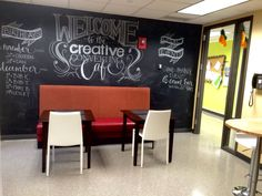 Office breakroom remodel. Chalkboard paint. Table, chairs, and bar stools from Overstock.com. Countertop table from Ikea. Banquette bench from Craigslist. Teacher Lounge, Staff Lounge, Student Lounge, Middle School Decor, School Staff, School Classroom, Classroom Decor, Lounge Design, Lounge Decor