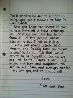 Santa Letter, for when the kids find out....this brings me to tears.