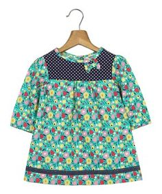 Look what I found on #zulily! Mint & Navy Floral A-Line Dress - Infant, Toddler & Girls by Beebay #zulilyfinds