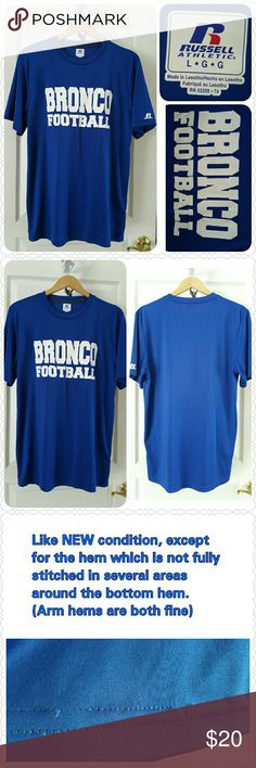 "Worn once, Bronco Football jersey An amazing deep sapphire blue color Bronco Football jersey.   * Size LARGE, 19"" across shoulders & 42"" chest. * Brand: Russell Athletics  * Shirt (& white lettering) is in perfect condition, except for several areas around the bottom hem where the stitching is not in tact (see photo of example). * Material is lightweight, quick-dry poly; feels great to the touch! * Non-smoking home  * Thanks for visiting my closet!  Aurora33180 Russell Athletics  Tops Tees…"