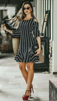 32 Trendy Little Black Dress Lace High Heels Black And White Short Dresses, Lace Dress Black, Dress Lace, Simple Dresses, Nice Dresses, Casual Dresses, Frock Fashion, Fashion Dresses, The Dress