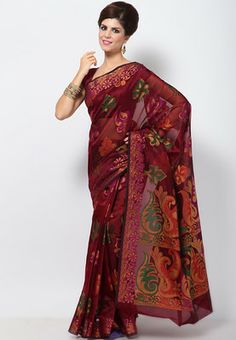 Silk Georgette Zari Resham Work Maroon Saree