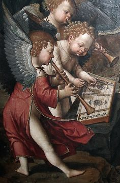Jacob Cornelisz van Oostsanen - Musical Book (score) and Musician Angels (1512). Detail.