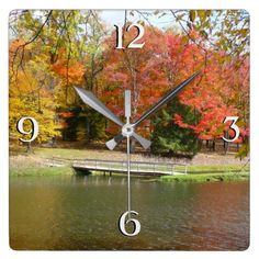 Seven Springs Fall Bridge III Autumn Landscape Square Wall Clock - spring gifts beautiful diy spring time new year