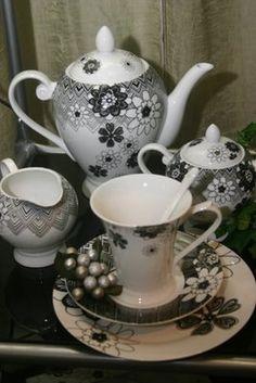 "Black and White ""Primavera"" Tea Set"
