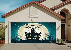 Garage Door Decorations Cover Decor Bats Pumpkin Night Sky Moon Bat Billboard Outside Decoration For Home