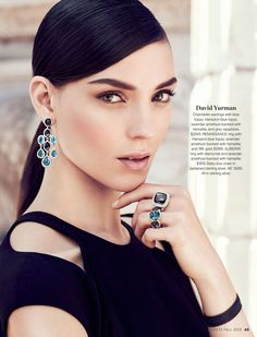 """David Yurman- Chandelier earrings with blue topaz, Hampton blue topaz, lavender amethyst backed with hematite, and grey sapphires. $2045. RENAISSANCE ring with Hampton blue topaz, lavender amethyst backed with hematite, and 18K gold. $1260. ALBION® ring with diamonds and lavender amethyst backed with hematite. $1810. Baby box chain in darkened sterling silver, 48"""". $265. All in sterling silver. #holtsmag"""