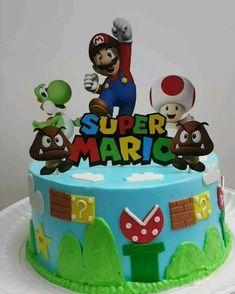 Mario Birthday Cake, Birthday Cake Kids Boys, Toddler Boy Birthday, Super Mario Birthday, 5th Birthday, Bolo Do Mario, Bolo Super Mario, Boy Cakes, Cakes For Boys