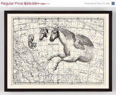 Constellation Print with Pegasus horse, Map Celestial Chart Print with horse, Pegasus Art, Horse Art Winged Horse, Antique Illustration, Antique Prints, Vintage Prints, Horse Art, Ciel, Vintage World Maps, Fine Art Prints