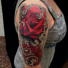 Beautiful Big Red Rose Half Sleeve Tattoo Design For Women - http://tattooideastrend.com/beautiful-big-red-rose-half-sleeve-tattoo-design-for-women/ -