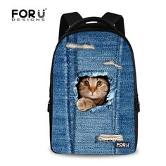 (33.62$)  Buy here - http://aia8k.worlditems.win/all/product.php?id=32623679337 - Vintage Women School Backpacks Denim Cats Pattern Travel Laptop Bagpack for Female Ladies Animal Women's Satchel Mochilas Mujer