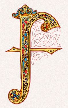 Illuminated F in Lindisfarne Gospels style. Northumbrian monastery of Lind is Farnell, end of seventh century, i...