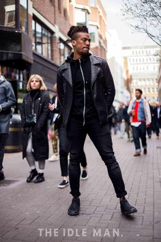 Leather Layering | Layer up your biker jacket over a black hoodie. Add some ripped black skinny jeans and finish with a pair of black slip on trainers. | Shop men's clothing at The Idle Man