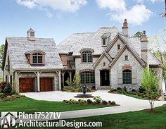 Plan W17527LV: Luxury, Premium Collection, French Country, Sloping Lot, Corner Lot, European, Photo Gallery House Plans & Home Designs