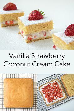 Vanilla Strawberry Coconut Cream Cake