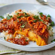 A taste of home: This cod recipe is straight from Nadiya Hussain's gran's larder, using the peel of a clementine to create a light and zesty dish Trout Recipes, Cod Recipes, Potluck Recipes, Curry Recipes, Veggie Recipes, Cooking Recipes, Healthy Recipes, Nadiya Hussain Recipes, Clementine Recipes