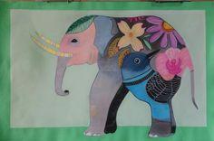 Diseňo de la ilustradora Gennie's Art. Elefante sobre papel canson 50 X 33 Pastel con Acrílico por Nuria Ruiz.