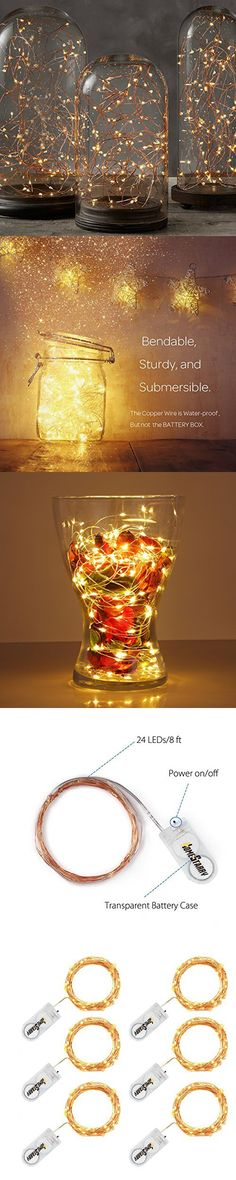 6 Pack, Homestarry Fairy String Lights Copper Wire Lights 24 LEDs Super Bright, Starry Rope Lights for Party, Wedding, Home Table Decorations, Warm White, 8ft