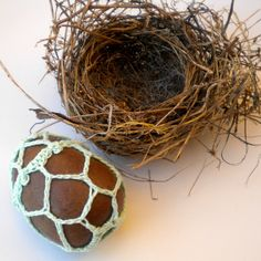 Easter Egg Crochet Stone Lace Beach Rock Ready to by iaFlowerPower