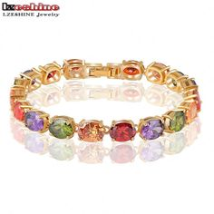 LZESHINE AAA Multicolor Oval Cubic Zirconia Charm Bracelet Gold Plated Zircon Strand Bracelets pulseira ouro CBR0009-C