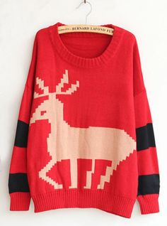 Christmas Red Deer Round Neck Sweater