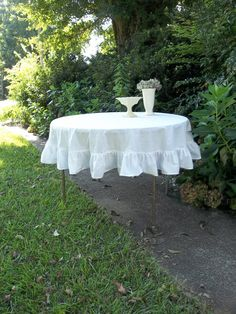 Round Ruffled Tablecloth White Tablecloth Handmade by misshettie, $98.00