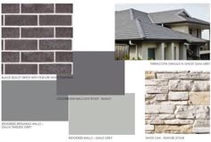 Basalt roof and timeless grey? Exterior Color Combinations, Exterior Color Schemes, House Color Schemes, Exterior House Colors, Colour Schemes, Paint Schemes, Brick Facade, Facade House, House Facades