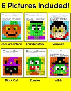 Halloween Activities Color by Sight Words Mystery Pictures - Fun October Center Halloween Games, Halloween Activities, Jack Lantern, Early Finishers, Sight Words, Literacy Centers, Letters And Numbers, Frankenstein, Legos