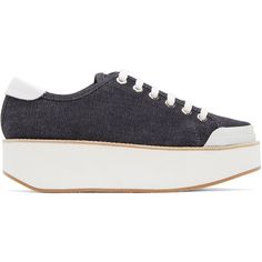Flamingos Indigo Denim Tatum Sneakers ($315) ❤ liked on Polyvore featuring shoes, sneakers, laced sneakers, laced shoes, indigo shoes, round cap and denim shoes