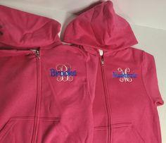 Monogrammed bridesmaid hoodies, gifts for bridesmaid embroidered personalized Monogram Hoodie, Monogram Initials, Teacher Tote Bags, Full Zip Hoodie, Hoodies, Sweatshirts, My Bags, Bridesmaid Gifts, Hooded Jacket