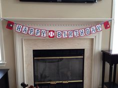 Baseball Happy Birthday Banner. Perfect for your Sports or All-Star Birthday Party, Baseball Birthday Party, Baseball Party Theme