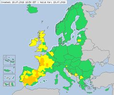 Valid for 19.07.2016 Meteoalarm - severe weather warnings for Europe - Mainpage