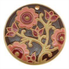 #GOLEM DESIGN STUDIO GLAZED #CERAMIC DISC PENDANT #PINK ORNAMENTAL FLOWERS 46MM 1 from beadaholique.com $19.99