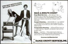 'Free Maid Service when we clean your carpets.' Don't know which is worse, the French Maid outfit or the man's gigantic _ahem_ hose.