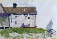 House and Boats (Seaside House) - Edward Hopper 1923 American Watercolor on paper, x cm Hunter Museum of American Art , Chattanooga. American Realism, American Artists, Watercolor Architecture, Watercolor Landscape, Hunter Museum, Edward Hopper Paintings, Ashcan School, Most Famous Artists, Frames