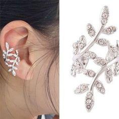 Silver Golden Punk Rock Earring Crystal Leaf Ear Cuff Warp Clip Ear Stud Jewelry