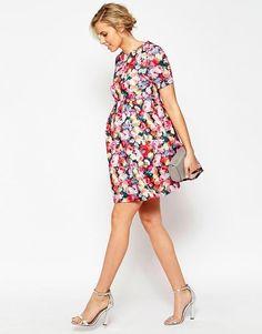 ASOS Maternity   ASOS Maternity Exclusive Scuba Skater Dress in Bright Floral Print at ASOS