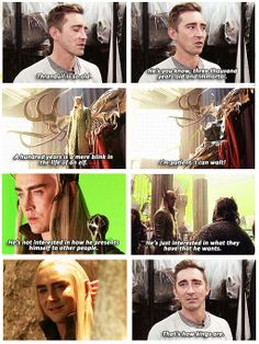 I love his hair right here! Lee Pace on Thranduil. (Thranduil is actually closer to 6,000 years old but whatevs)