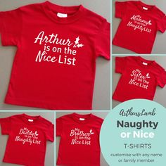 Which list will your family be on this Christmas? Etsy Christmas, Christmas Outfits, Personalized Baby Gifts, Etsy Seller, Handmade Items, Boutique, Mens Tops, T Shirt, Clothes