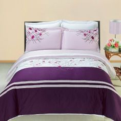 "Luxurious 8 Piece Cal King Size Cherry Embroidered BED IN A BAG Set. Includes Duvet Cover Set + 100% Egyptian Cotton Bed Sheet Set + Down Alternative Comforter by Egyptian Cotton Factory Outlet Store. $199.99. The 3 Piece Duvet Cover Set is made of 100% Egyptian Cotton. 2 King Pillow Shams (20"" x 36""). One Duvet Cover 106 x 92 Inches with button closer. The 8 Piece Set is combination of White, Lavender and Pink. Includes 100% Egyptian Cotton White 4pc Sheet Set + Luxurio..."