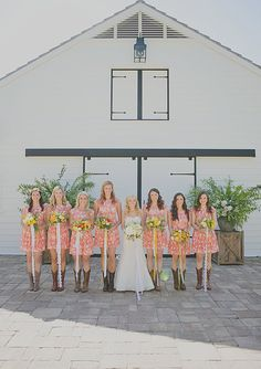 Printed bridesmaids dresses with long ribbons and boots! Love this look!