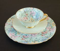 Shelley MELODY CHINTZ  OLEANDER SHAPE  CUP,  SAUCER AND PLATE  #13412 GOLD TRIM  | eBay